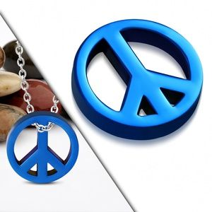 Blue Stainless Steel Peace Sign Charm Pendant